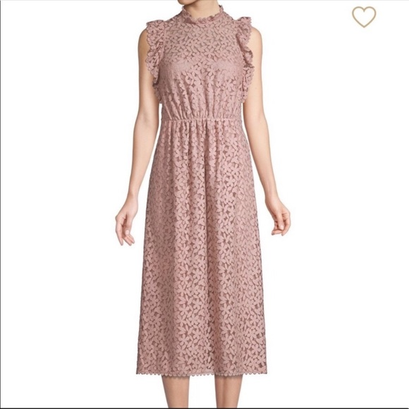 Kate Spade Pink Floral lace Ruffle Midi Dress 12